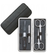 Erbe Collection fünfteiliges Manicure Set im Juchtenlederetui 15,0 x 7,0 cm