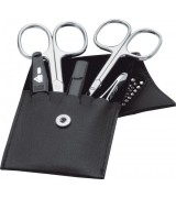 Erbe Collection fünfteiliges Manicure Set im Lederetui 10,0 x 6,5 cm