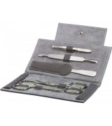 Erbe Collection fünfteiliges Manicure Set im Lederetui grau 14,5 x 8,5 cm
