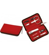 Erbe Collection f�nfteiliges Manicure Set im Lederetui, rot 11,0 x 6,5 cm