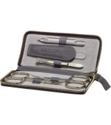 Erbe Collection fünfteiliges Manicure Set im Rindleder...