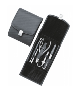 Erbe Collection mehrteiliges Manicure Set im Lederetui Carbone 15,0 x 12,5 cm
