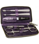 Erbe Collection sechsteiliges Manicure Set im Lederetui, lila, 13,5 x 7,0 cm