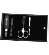 Erbe Collection vierteiliges Manicure Set im Kunstlederetui, schwarz, 11,5 x 7,0 cm