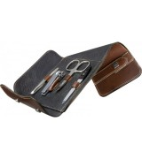 Erbe Collection vierteiliges Manicure Set im Lederetui 14 x 9,5 cm