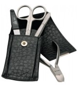Erbe Collection vierteiliges Manicure Set im Lederetui schwarz 13,0 x 5,0 cm