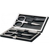 Erbe Collection vierteiliges Manicure Set im schwarzen Lederetui 10,5 x 6 cm