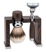 Erbe Shaving Shop Rhodium-Rasier-Set dreiteilig, Wengeholz, Gillette Mach 3