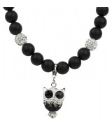 Impala Black Pearl Onyxkette mit Anh�nger Owl 80 cm