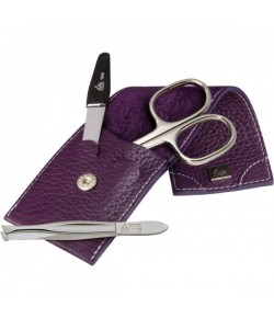 Erbe Collection dreiteiliges Manicure Set im Lederetui 10 x 5 cm