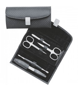 Erbe Collection fünfteiliges Manicure Set im Lederetui Carbone, 16,0 x 7,5 cm
