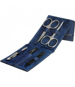 Erbe Collection fünfteiliges Manicure Set im Lederetui, blau, 11,5 x 7,5 cm