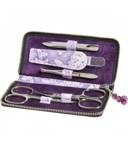 Erbe Collection fünfteiliges Manicure Set im Lederetui, lila 12,5 x 6,0 cm