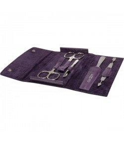 Erbe Collection f�nfteiliges Manicure Set im Lederetui, lila 14,5 x 8,0 cm