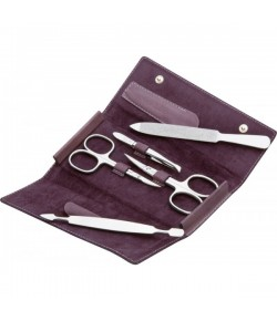 Erbe Collection fünfteiliges Manicure Set im Lederetui, lila, 15,0 x7,5 cm