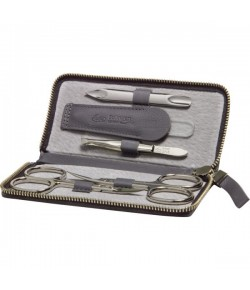 Erbe Collection fünfteiliges Manicure Set im Rindleder Etui grau, 12,5 x 6,0 cm