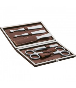 Erbe Collection sechsteiliges Manicure Set  im braunen Lederetui 15 x 8,5 cm