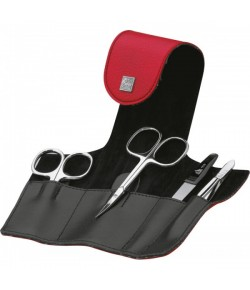 Erbe Collection vierteiliges Manicure Set im Kunstleder-Etui, rot 10,5 x 6,0 cm