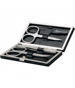 Erbe Collection vierteiliges Manicure Set im braunen Lederetui 10,5 x 6 cm